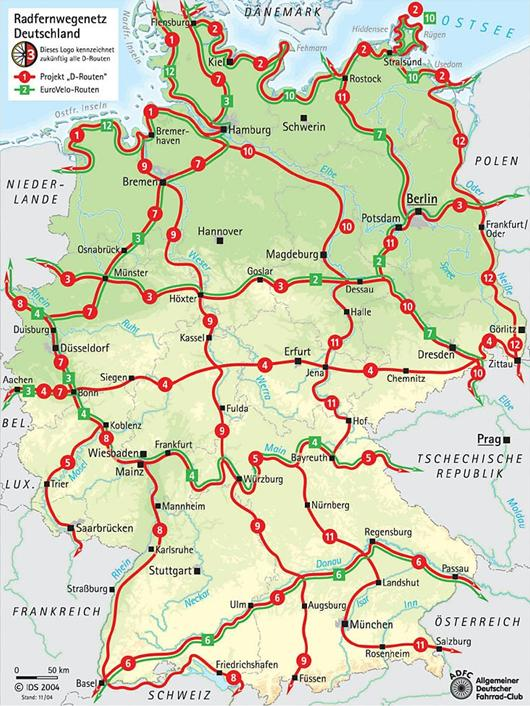 Germany long distance cycling routes